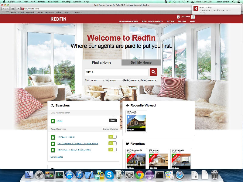 Redfin introduces instant push notifications in safari in os x mavericks to give home shoppers an edge on the competition
