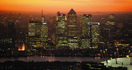 Canary Wharf, Aerial from East