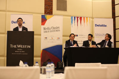 Photo caption from left to right: Paul Lee, Deloitte Global Director of TMT research, Santino Saguto, Partner and TMT Leader at Deloitte Middle East; Adil Parvez, Consulting, Deloitte Middle East; Emmanuel Durou, Director, Consulting, Deloitte Middle East