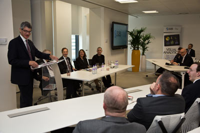 SAS VP Ian Manocha welcomes visitors to the new R&D centre, that will tackle fraud and financial crime