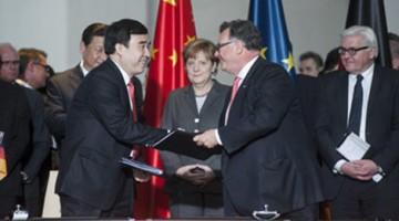 Chinese President Xi Jinping and the German Chancellor Angela Merkel