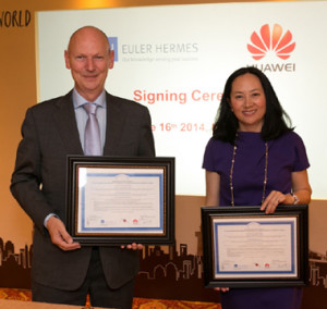 Cathy Meng, CFO of Huawei, with Wilfried Verstraete, Chairman of the Management Board of Euler Hermes