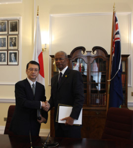 Premier and Minister of Finance of the British Virgin Islands (BVI) Dr. the Hon D. Orlando Smith, OBE, signed the agreement with H.E. Mr. Keiichi Hayashi, Japanese Ambassador to the United Kingdom (UK)