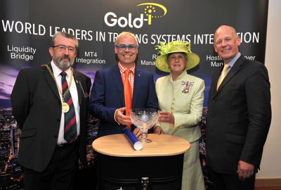 (from left to right): The Mayor of Guildford, Councillor David Elms; Tom Higgins, CEO of Gold-i; Lord-Lieutenant of Surrey, Dame Sarah Goad; and the Deputy Lord-Lieutenant, Brigadier Roger Hood