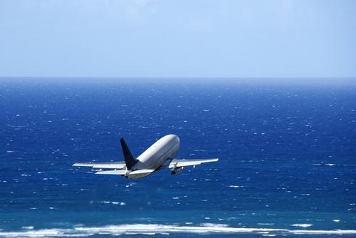 Plane over the sea