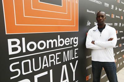 Michael Johnson at the Bloomberg Square Mile Relay