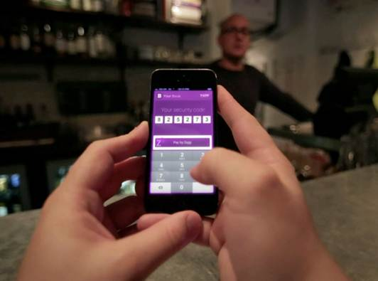 Zapp 1 - Zapp in action - paying a barman with security code