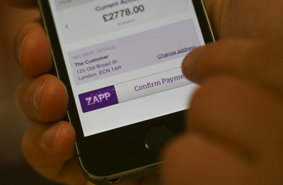 Zapp in action - pay button on ecommerce site