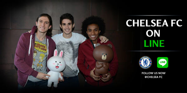 Chelsea players Filipe Luis, Oscar and Willian celebrate the launch of the LINE Chelsea Official Account