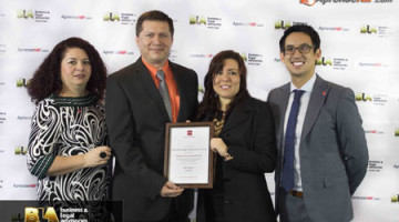 Edmundo Florez, Director of BLA Ltda. and Sandra Rios, General Manager of of BLA Ltda. posing with Toby Moseley, ACCA's portfolio head of Latin America and Turkey and Maria Cotera, BLA's Research & Engagement Manager, Latin America & Turkey and their Registered Learning Partner accreditation certificate.