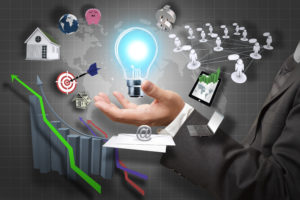 Light bulb in hand icon business