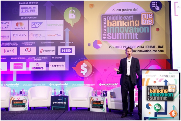Keynote speech in progress at the Middle East Banking Innovation Summit 2014
