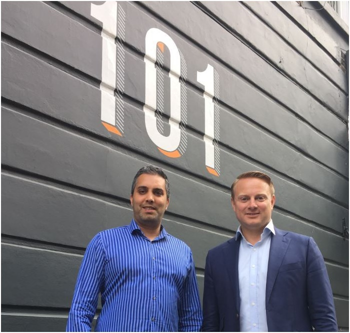 Ajay Daved, UK Country Director, together with Carl-Johan Grund, CEO and founder, outside the Emerse UK Office at 101 Redchurch Street in London.