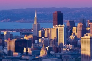 Downtown San Francisco cityscape at beautiful sunset ** Note: Slight blurriness, best at smaller sizes