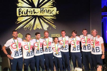 The GB Men's Eight celebrate winning the Olympic Gold Medal
