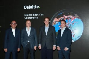 From left to right -Nauman Ahmed -Tax leader Deloitte ME- Omar Fahoum CEO Deloitte ME-Dan Lange Global Managing Director of Tax DTTL and Alex Law -Partner Intl Tax Services- Deloitte ME