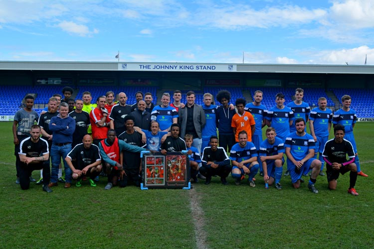 LIVERPOOL HOMELESS FC PLAY BARTERCARD 11 IN CHARITY MATCH AT PRENTON PARK
