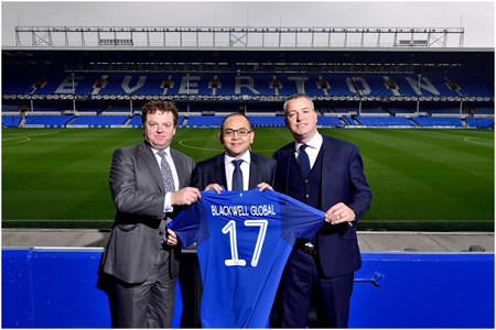 Patrick Latchford, Michael Chai and Alan McTavish seal the Blackwell Global and Everton Football Club partnership deal.
