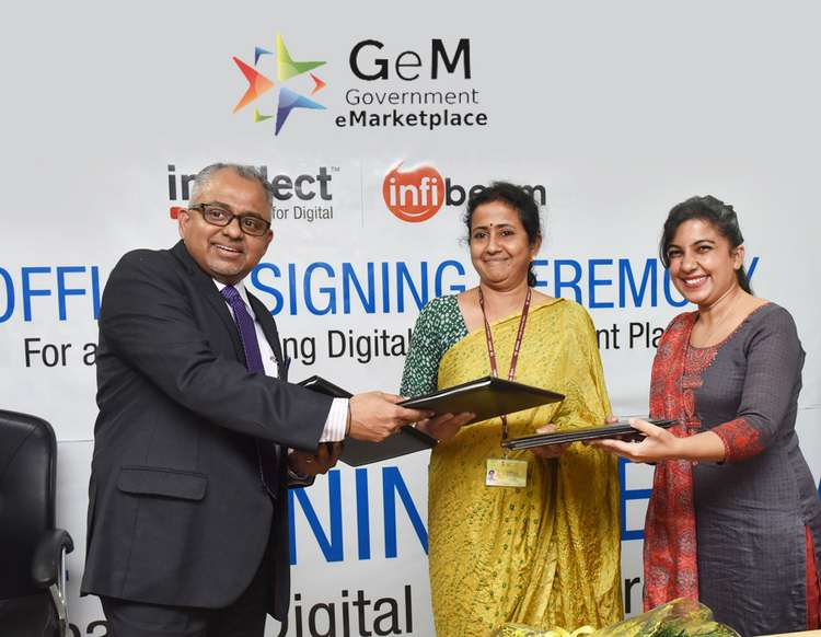 GeM and Intellect Official Signing Ceremony. From Left to Right: K. Srinivasan, President, Emerging Markets, Intellect Design Arena Ltd., Smt. S. Radha Chauhan, IAS, Chief Executive Officer, Government eMarketplace GeM, and Neeru Sharma, Co-Founder, Infibeam.