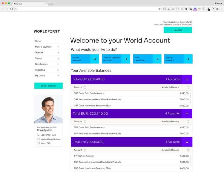 World Account Homepage