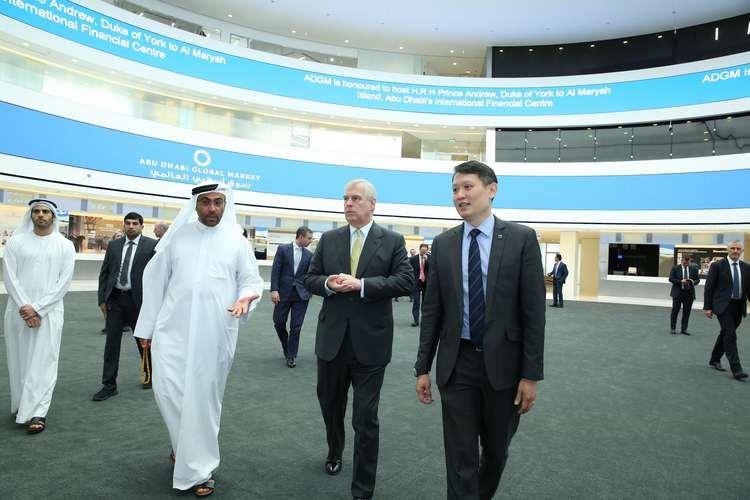 HE Ahmed Al Sayegh Chairman ADGM and HRH The Duke of York and Richard Teng CEO FSRA