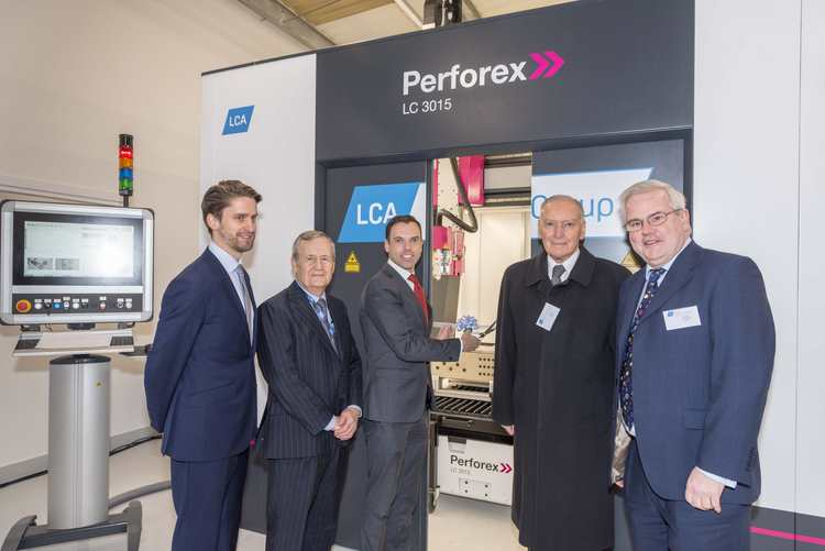(L-R) Alan Sheppard, David Williams, Ken Skates, Lord Barry Jones, Mark Tami MP cut the ribbon on the new Rittal machine
