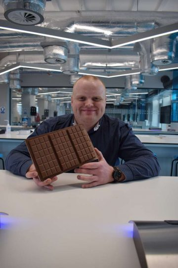 Jamie Hutcheon of Aberdeen-based Cocoa Ooze in the Abertay science labs.