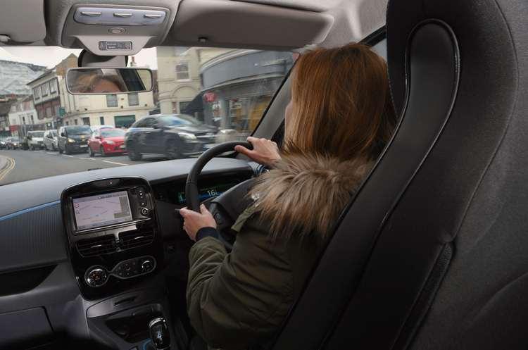 Claire driving Zoe