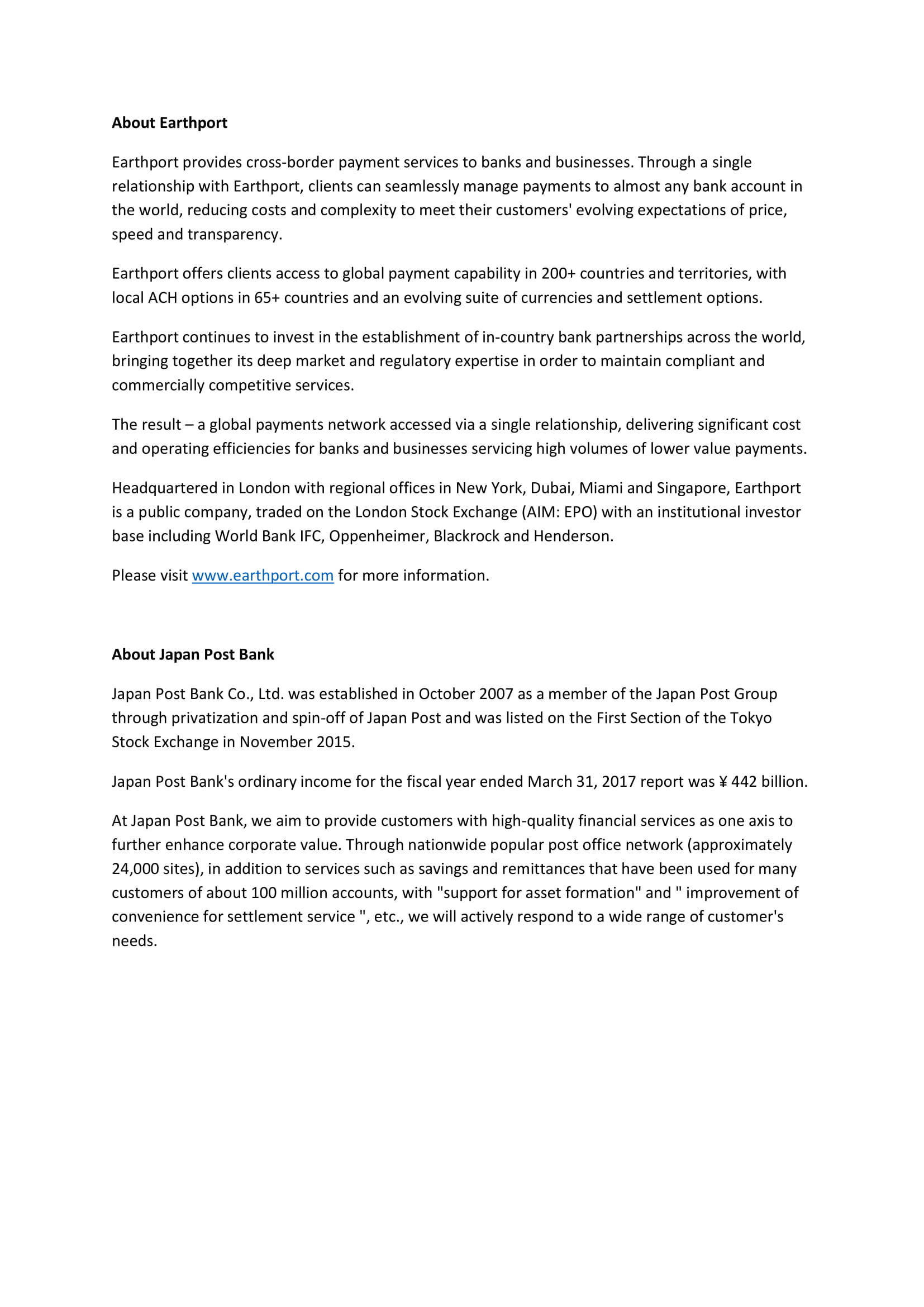 Earthport Japan Post Bank RNS Reach-2