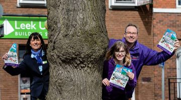 Lisa Worth (left), Leek United's Newcastle Branch Manager, with Laura McCormack and Andy Bailey, of Caudwell Children, at the launch of the Branch's '1000 Trees' appeal.