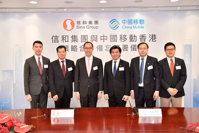 Representatives from Sing Group: Mr Daryl Ng, JP, Deputy Chairman (Left 3), Mr David Ng, Group General Manager (Left 1), Mr Sunny Yeung, Executive Director (Left 2) and Representatives from China Mobile Hong Kong:   Mr Sean Lee, Director & Chief Executive Officer (Right 3) , Mr Max Ma, Director & Executive Vice President (Right 2), Mr Ge Jianbao, Director & Executive Vice President, Chief Financial Officer (Right 1)