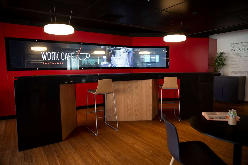 Santander WorkCafe video wall uses Zytronic touch sensors