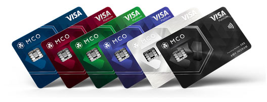 (From left to right) Midnight Blue (Classic plastic card), Ruby Steel, Jade Green, Royal Indigo, Icy White (Platinum metal cards), and Obsidian Black (Limited edition platinum metal card)
