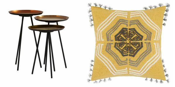 Accents three round tables, metallics Zangoora Cushion, Saffron