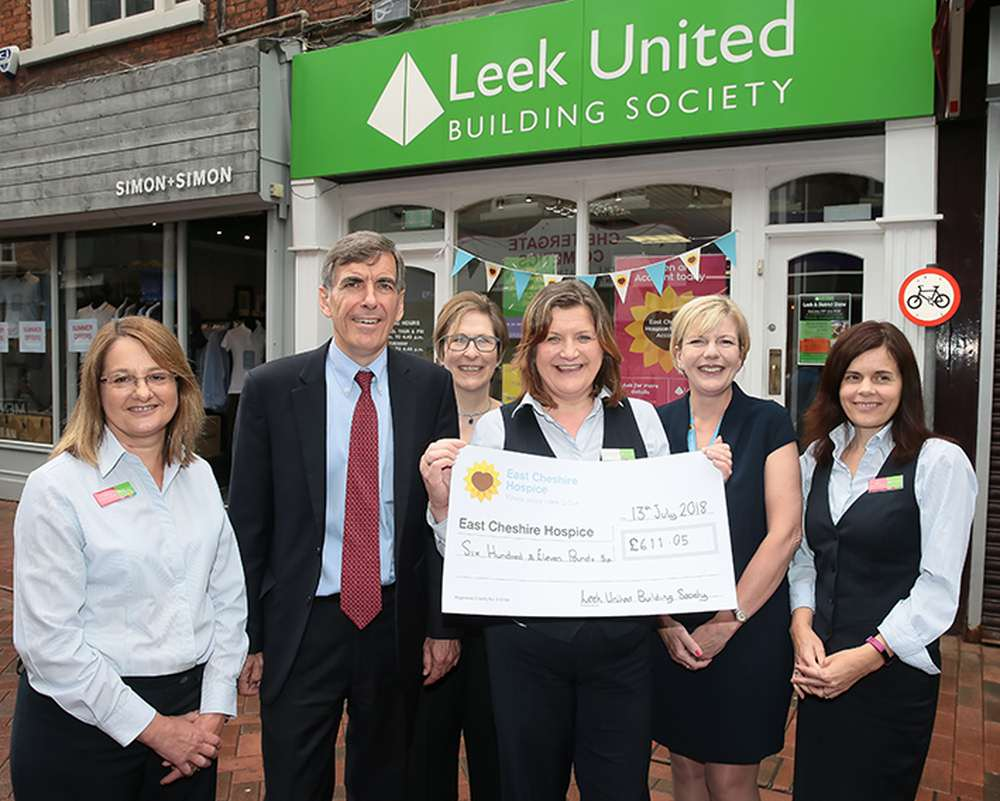 David Rutley MP at the launch of Leek United's East Cheshire Hospice Account with (from left) Debbie Swindley, Carol Curling, Veronica McNeill, Kate Bowmar (ECH) and Jane Heath.