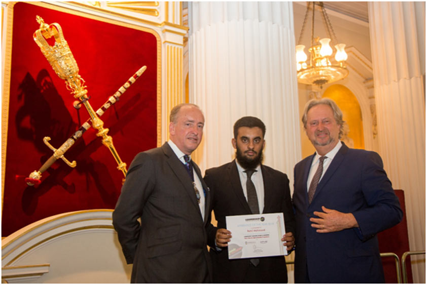 Rahil Mahmood, 19, was presented with the award by the Lord Mayor of London, Charles Bowman, and LTSB Chairman, David Pinchin, in a graduation ceremony held at Mansion House, London also attended by friends and relatives.
