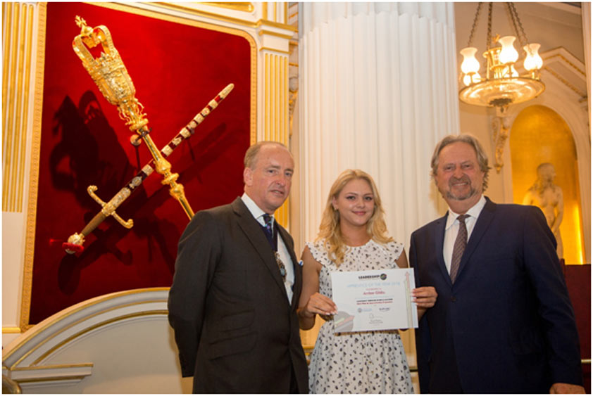 Amber Gibbs, 20, was presented with the award by the Lord Mayor of London, Charles Bowman, and LTSB Chairman, David Pinchin, in a glamorous graduation ceremony held at Mansion House, London also attended by friends and relatives.