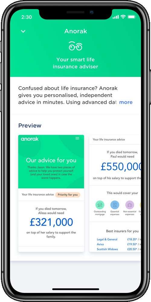 Anorak iPhoneX Details Screen
