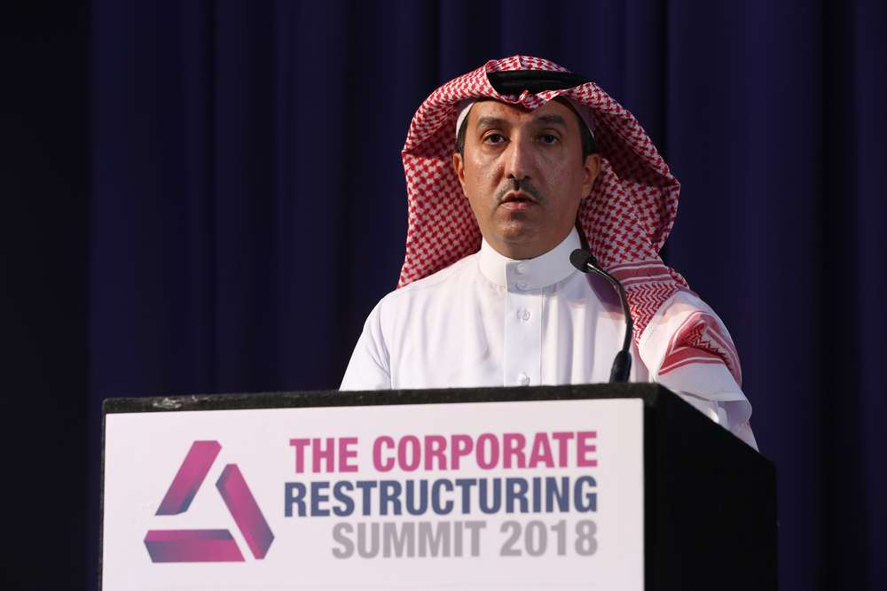 H.E. Dr. Fahad Alshathri, Deputy Governor - Supervision, Saudi Arabian Monetary Authority, presenting the opening keynote address at The Corporate Restructuring Summit 2018