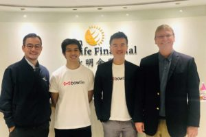 (From left to right) Mr Clement Lam, General Manager, Life and Health, Sun Life Hong Kong Limited, Mr Michael Chan, Co-CEO and Co-founder, Bowtie Life Insurance Company Limited, Mr Fred Ngan, Co-CEO and Co-founder of Bowtie Life Insurance Company Limited, Mr Fabien Jeudy, Chief Executive Officer, Sun Life Hong Kong Limited.