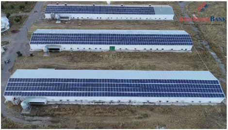 poultry farming. The biggest solar power plant in Armenia (237.6 MW/h) was financed by ArmSwissBank