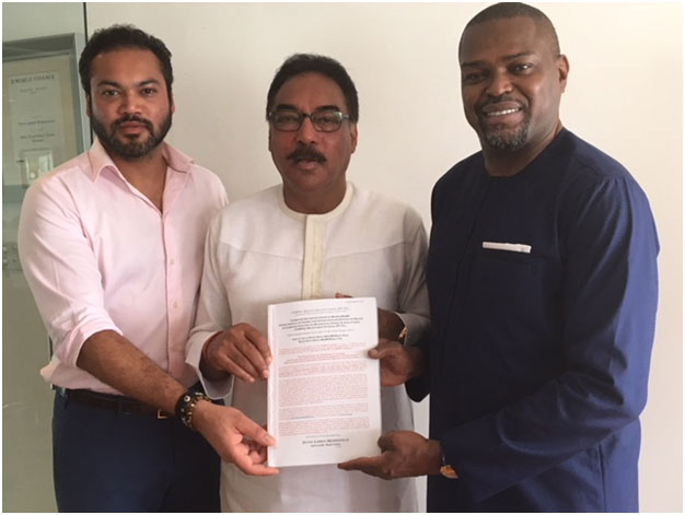 (L-R) MrRoheen Berry, Managing Director, Continental Transfert Technique Ltd, Dr. Benoy Berry, Chairman/Founder, Contec Global Group and Mr. Sonnie Ayere, Chairman/ Founder, Dunn Loren Merrifield Group at the formal signing for the First Future Flow Securitisation transaction held in Lagos