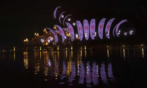 Duo glide around world's largest fountain in Dubai 1